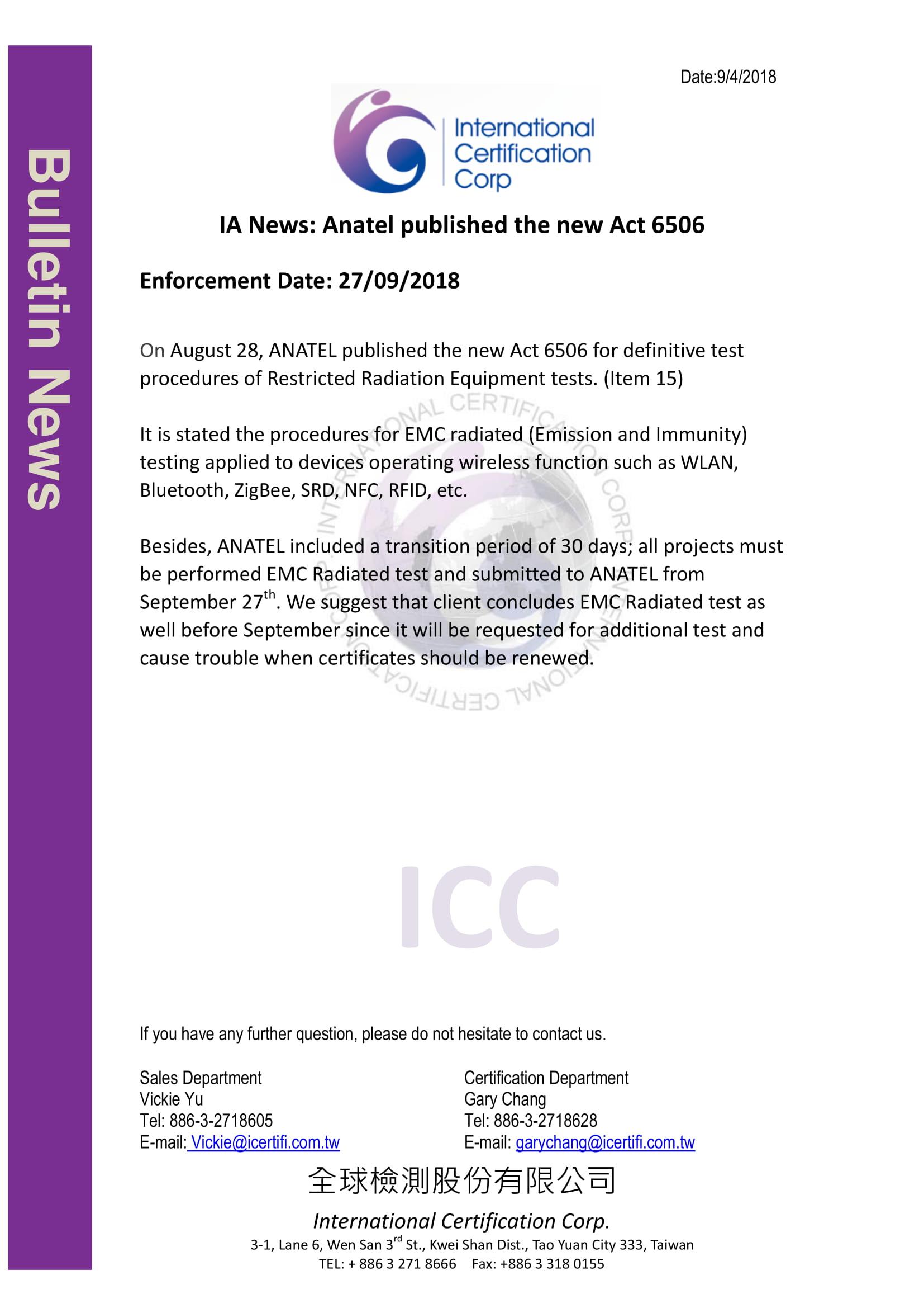News IA News: Brazil Anatel published the new Act 6506